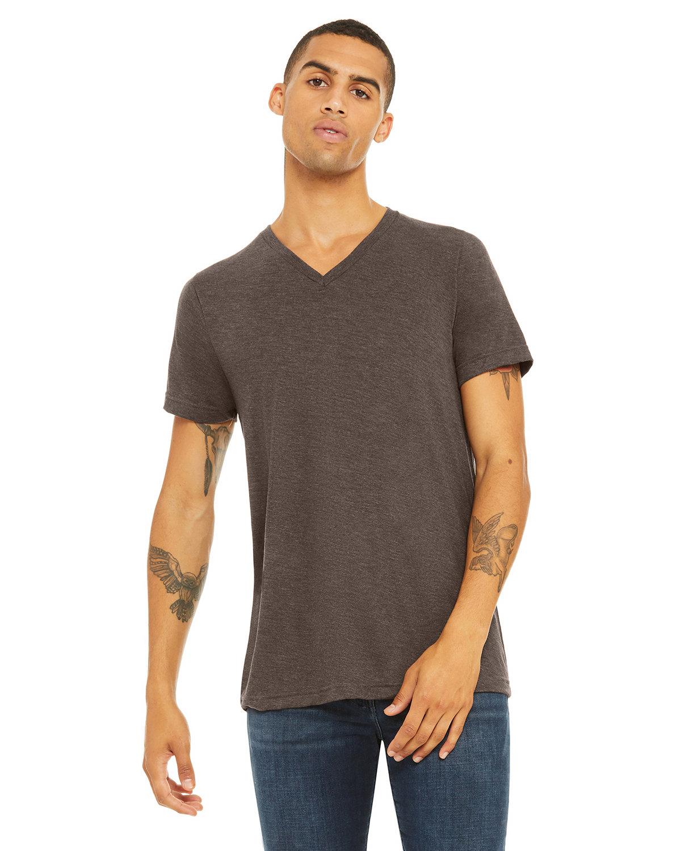 Bella + Canvas Unisex Triblend V-Neck T-Shirt BROWN TRIBLEND