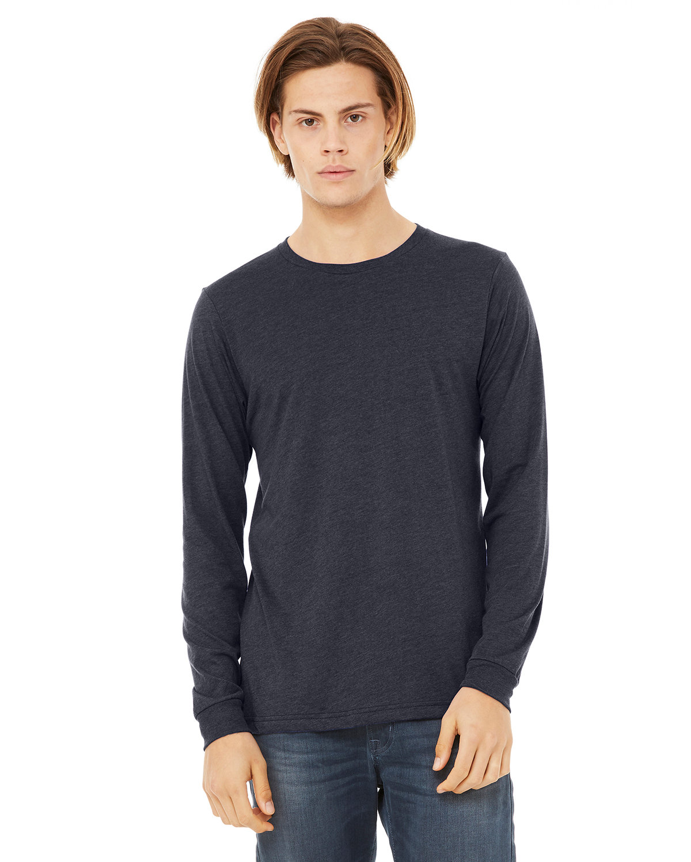 Bella + Canvas Unisex Jersey Long-Sleeve T-Shirt HEATHER NAVY