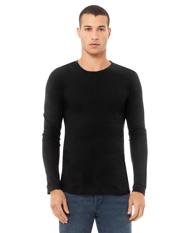 Bella + Canvas Unisex Jersey Long-Sleeve T-Shirt SOLID BLACK SLUB