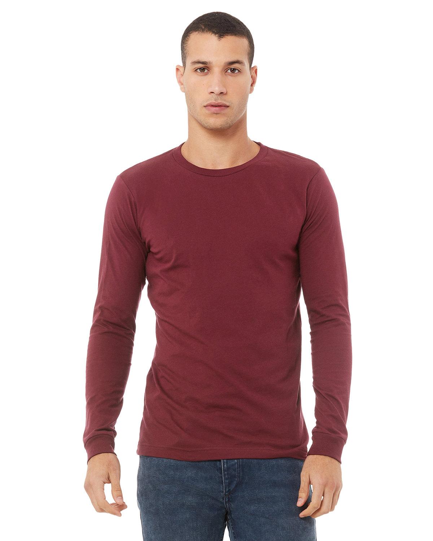 Bella + Canvas Unisex Jersey Long-Sleeve T-Shirt MAROON TRIBLEND