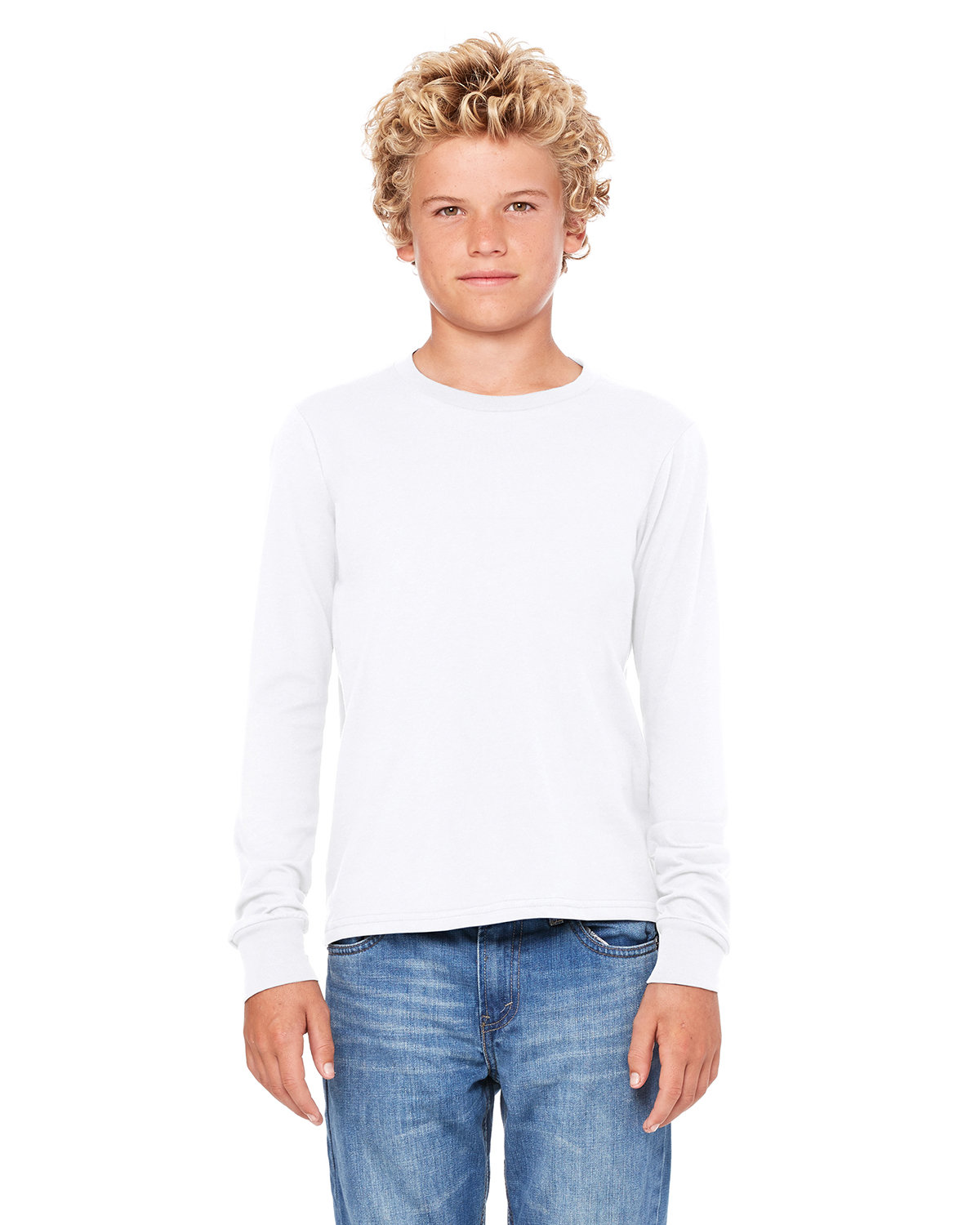 Bella + Canvas Youth Jersey Long-Sleeve T-Shirt WHITE