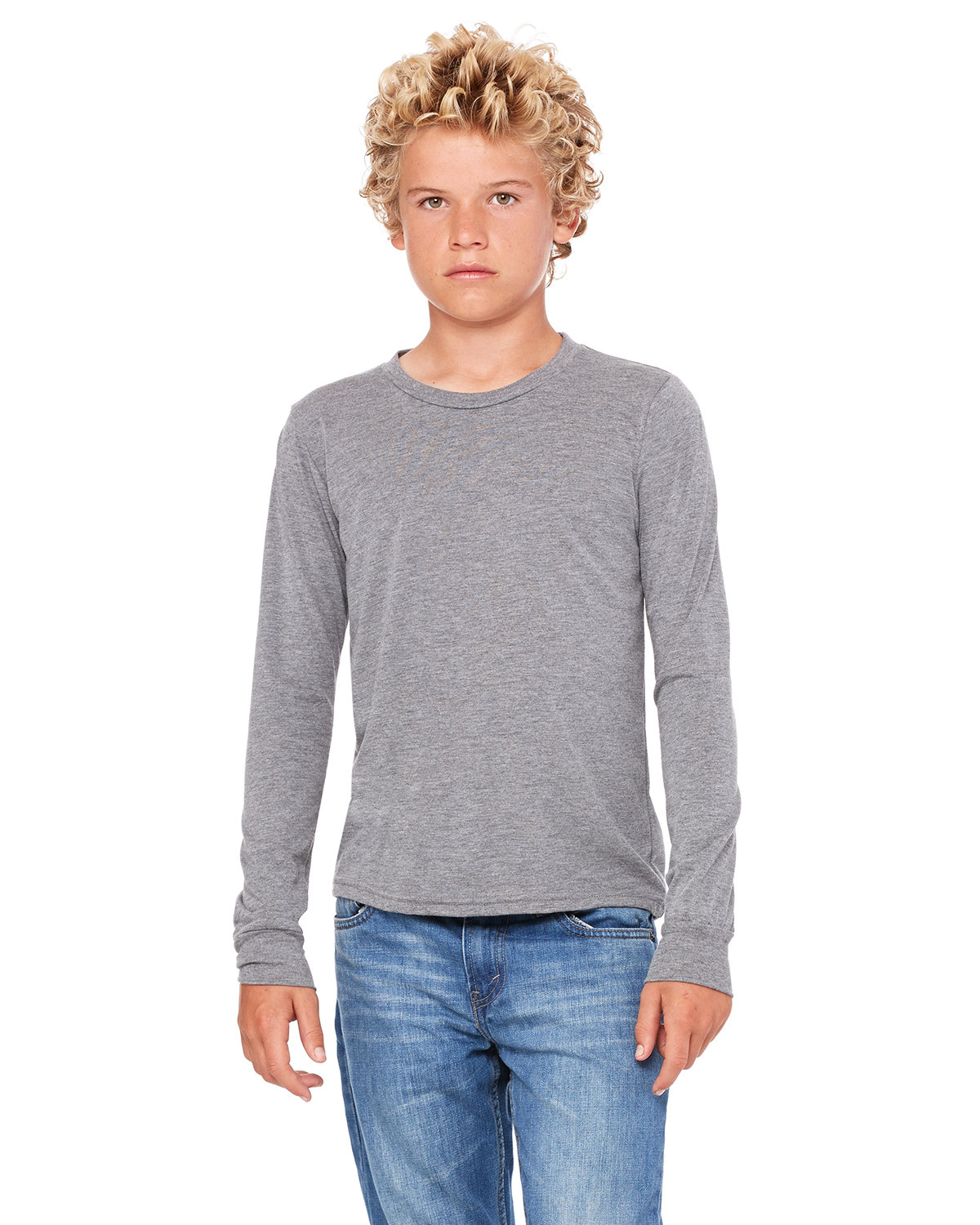 Bella + Canvas Youth Jersey Long-Sleeve T-Shirt GREY TRIBLEND