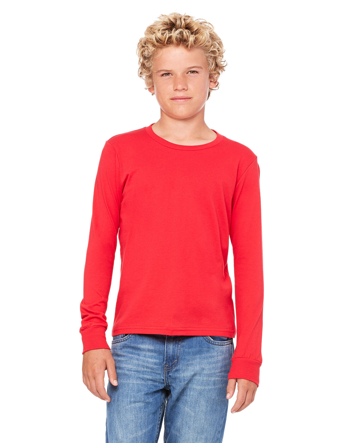 Bella + Canvas Youth Jersey Long-Sleeve T-Shirt RED