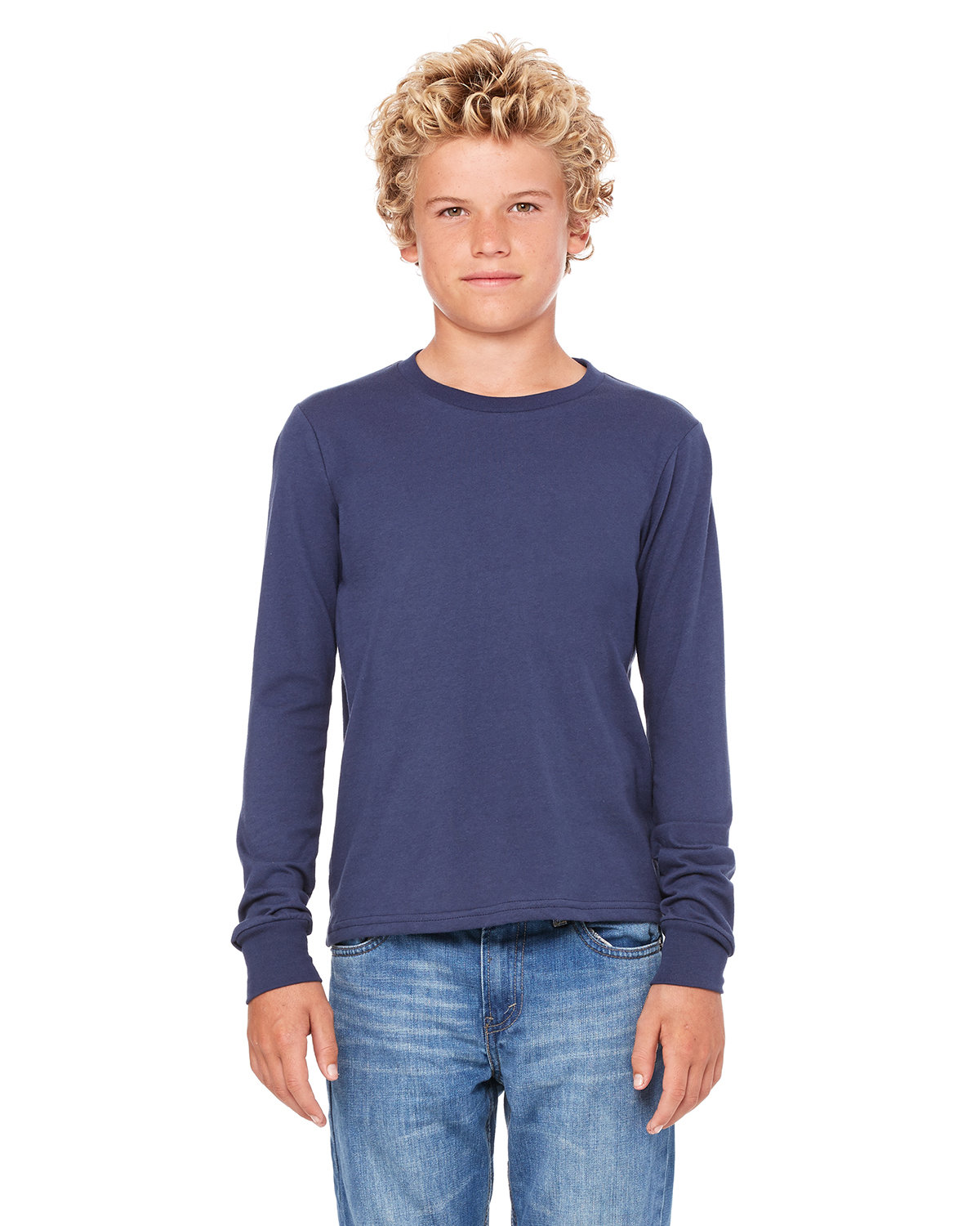 Bella + Canvas Youth Jersey Long-Sleeve T-Shirt NAVY