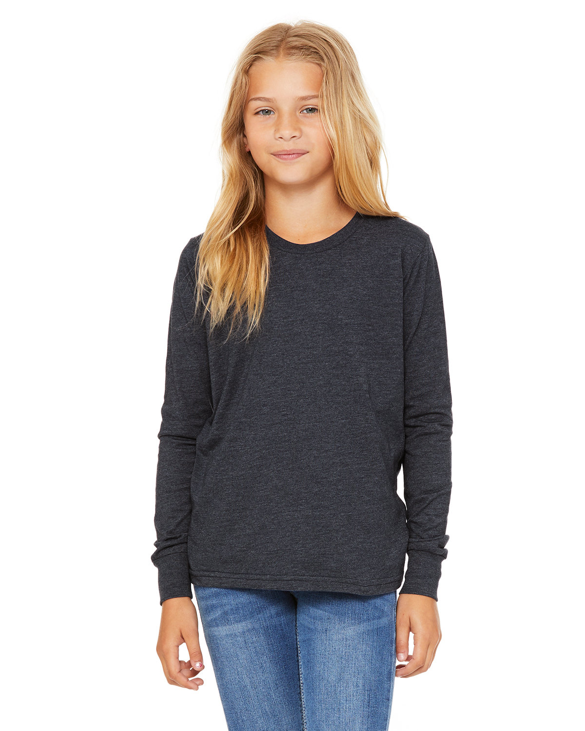 Bella + Canvas Youth Jersey Long-Sleeve T-Shirt HEATHER NAVY