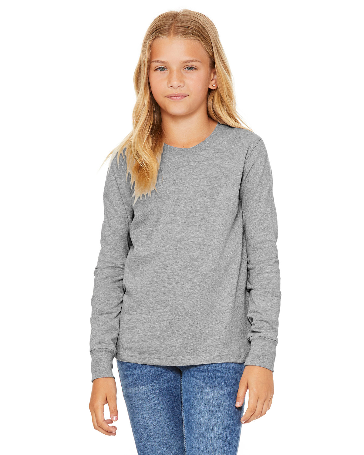 Bella + Canvas Youth Jersey Long-Sleeve T-Shirt ATHLETIC HEATHER
