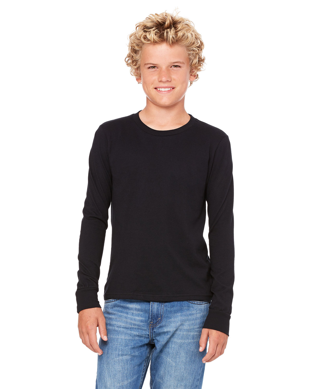 Bella + Canvas Youth Jersey Long-Sleeve T-Shirt BLACK
