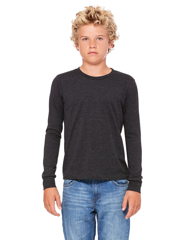Bella + Canvas Youth Jersey Long-Sleeve T-Shirt DK GREY HTHR