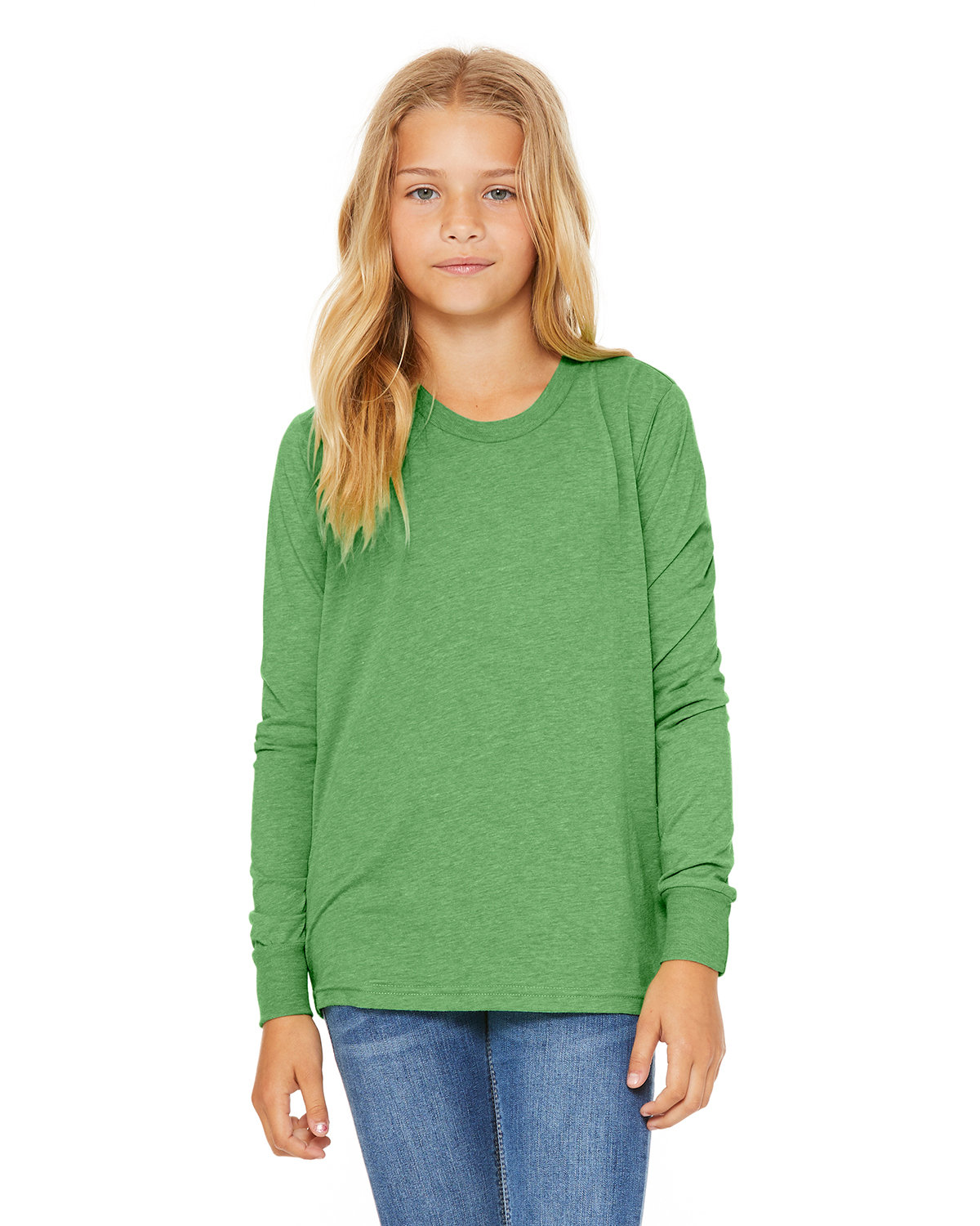 Bella + Canvas Youth Jersey Long-Sleeve T-Shirt GREEN TRIBLEND