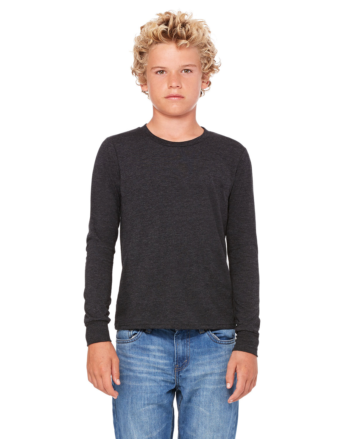 Bella + Canvas Youth Jersey Long-Sleeve T-Shirt CHAR-BLK TRIBND
