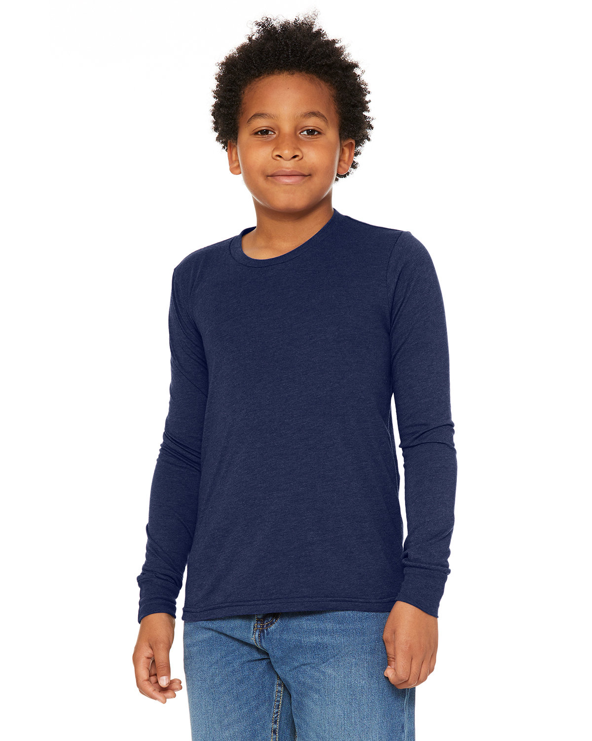 Bella + Canvas Youth Jersey Long-Sleeve T-Shirt NAVY TRIBLEND