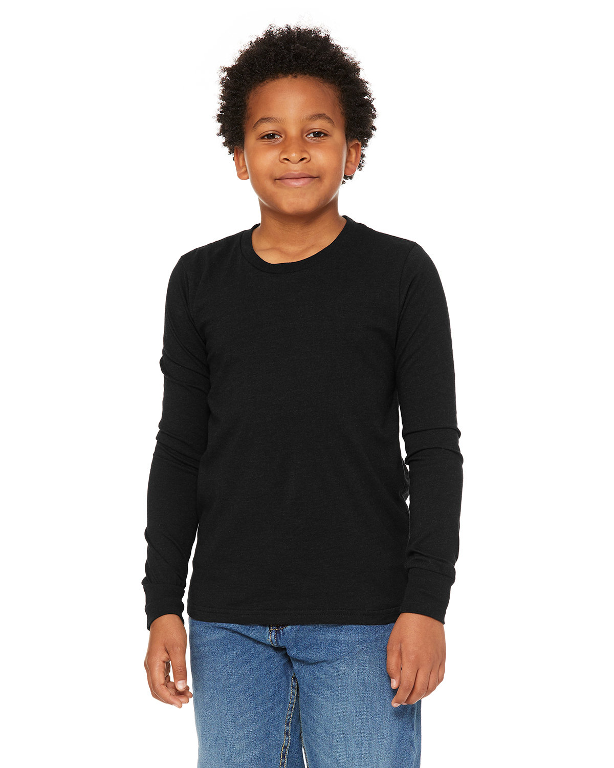 Bella + Canvas Youth Jersey Long-Sleeve T-Shirt BLACK HEATHER