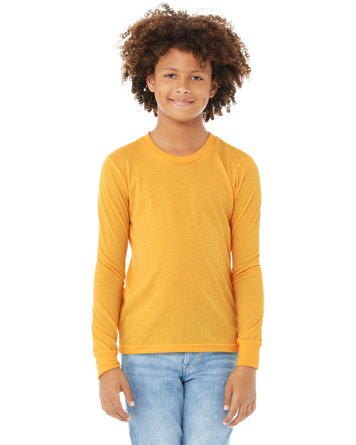 Bella + Canvas Youth Jersey Long-Sleeve T-Shirt HTHR YELLOW GOLD