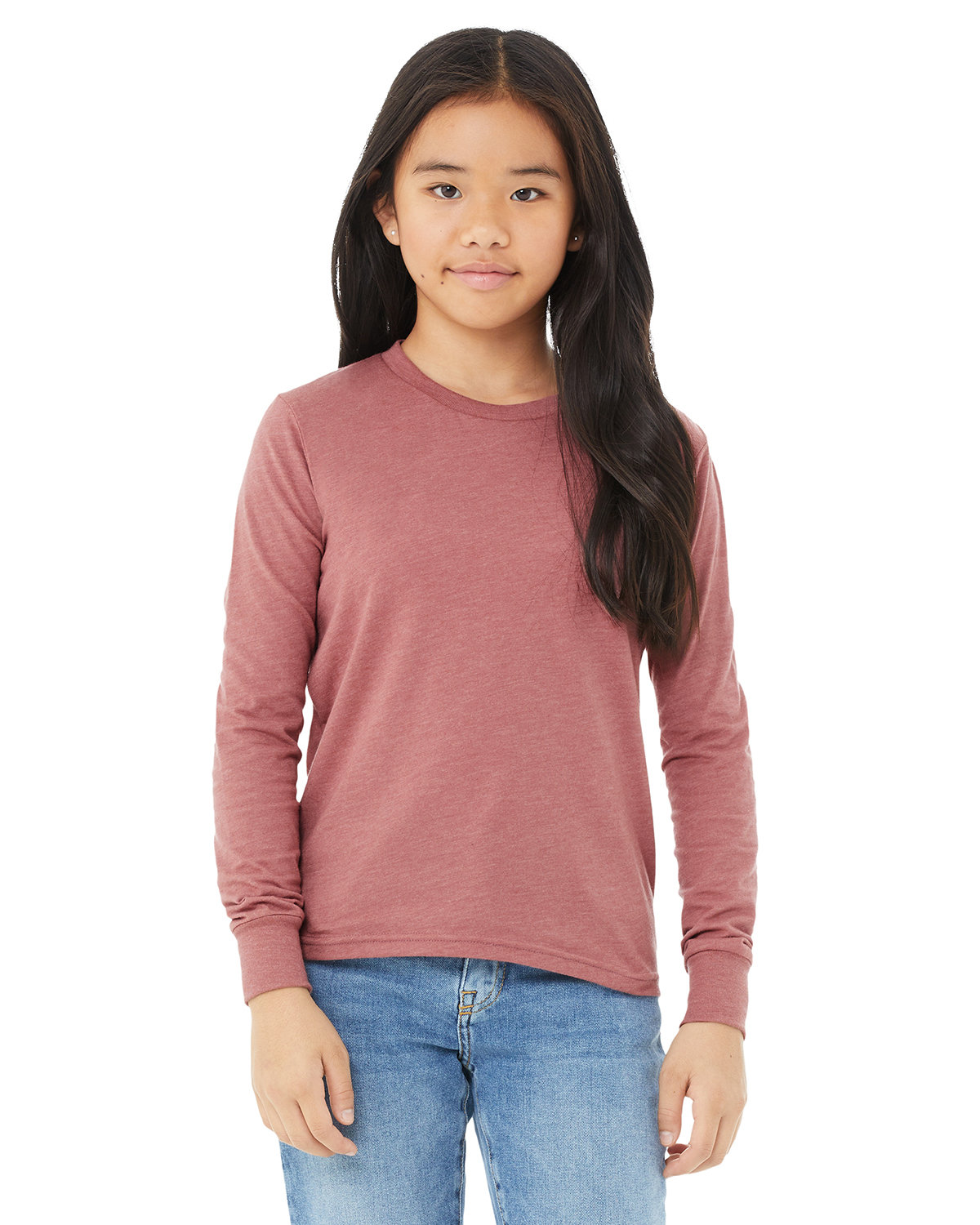 Bella + Canvas Youth Jersey Long-Sleeve T-Shirt HEATHER MAUVE