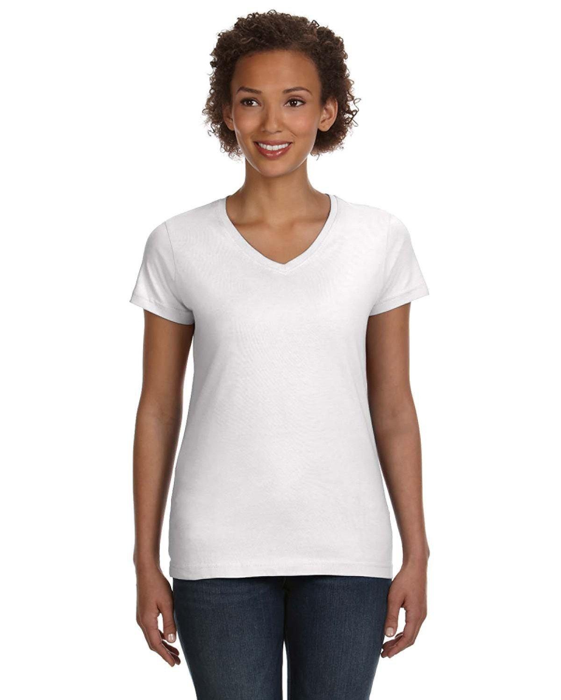 LAT Ladies' V-Neck Fine Jersey T-Shirt WHITE