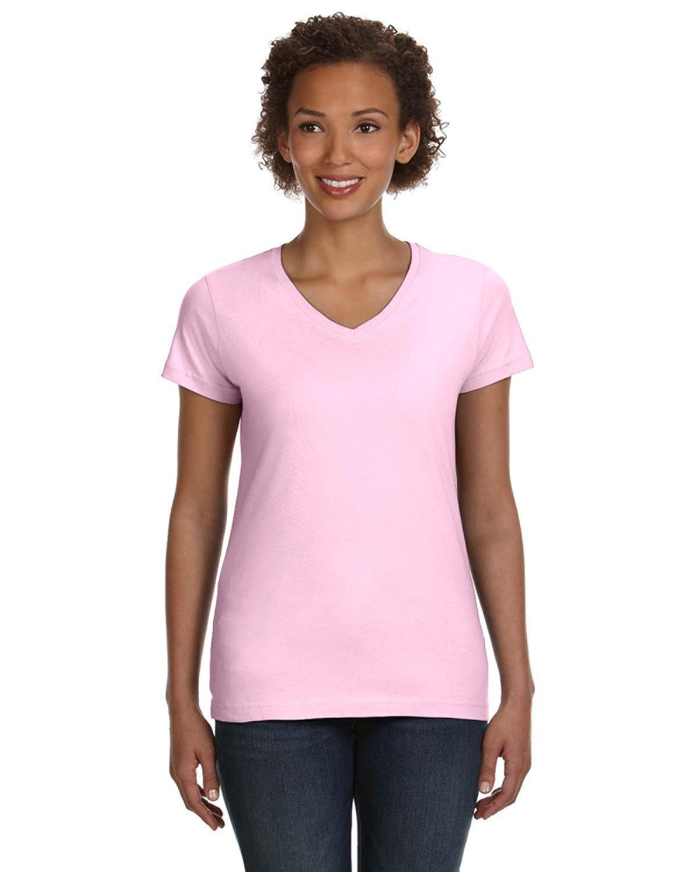 LAT Ladies' V-Neck Fine Jersey T-Shirt PINK