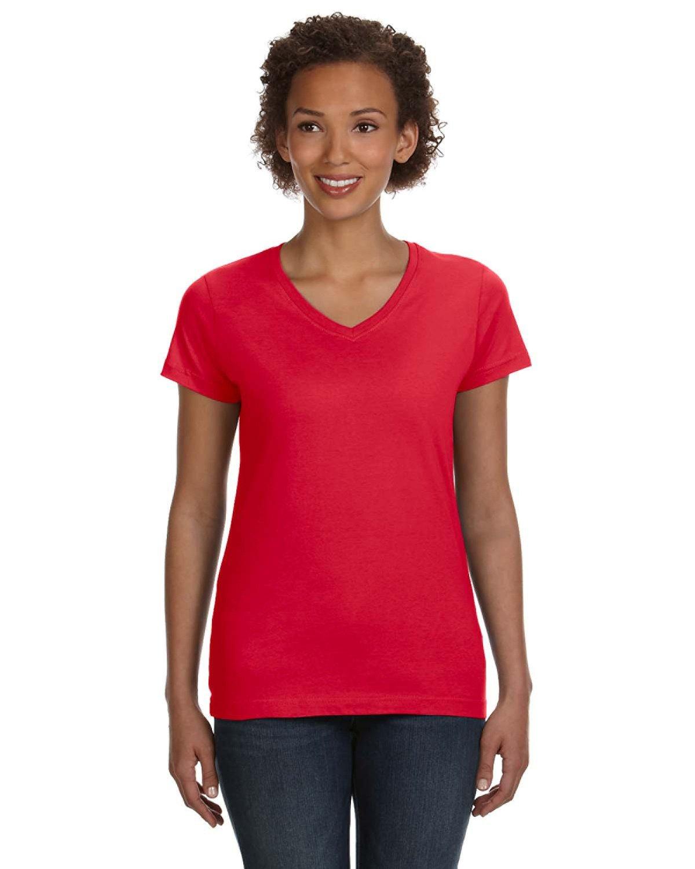 LAT Ladies' V-Neck Fine Jersey T-Shirt RED