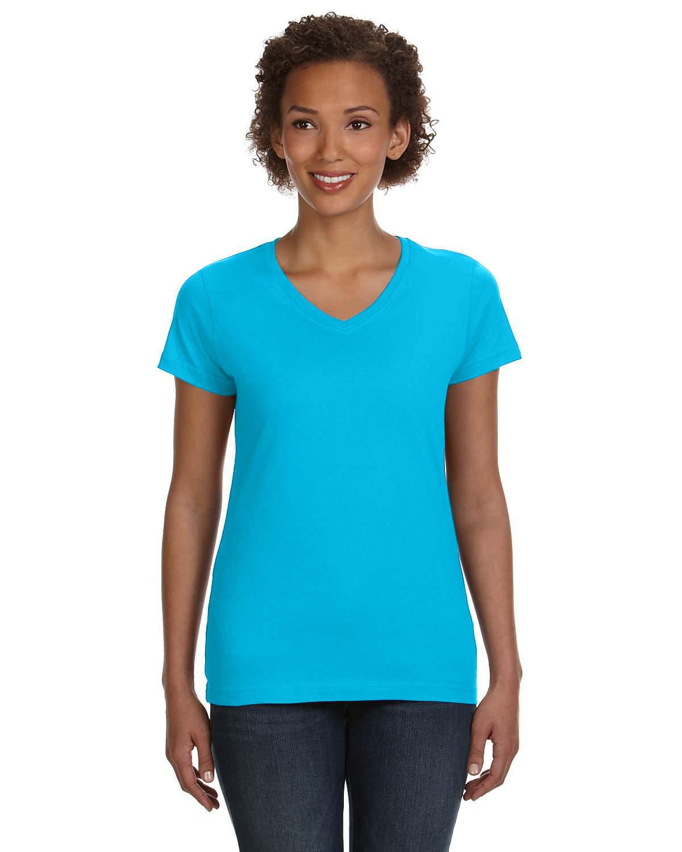 LAT Ladies' V-Neck Fine Jersey T-Shirt AQUA