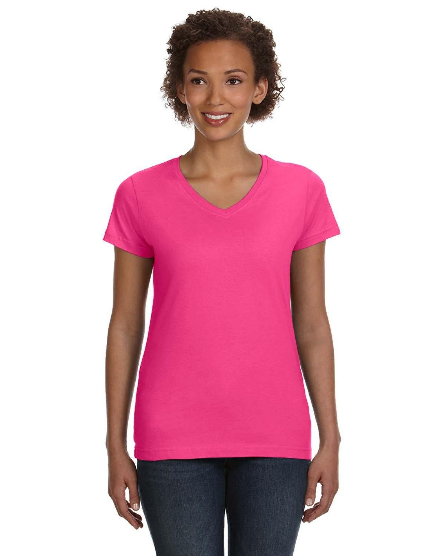 LAT Ladies' V-Neck Fine Jersey T-Shirt HOT PINK