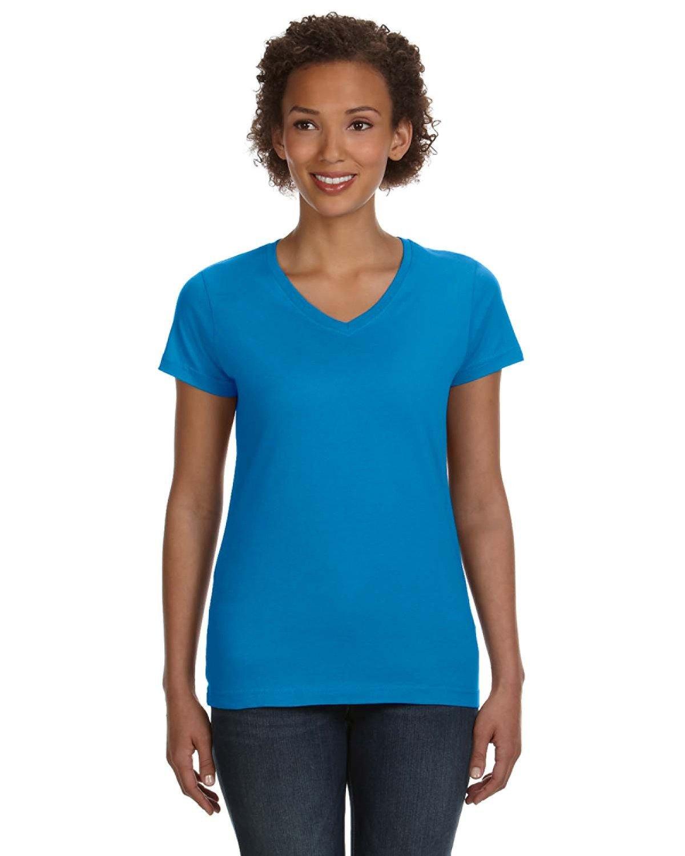 LAT Ladies' V-Neck Fine Jersey T-Shirt COBALT