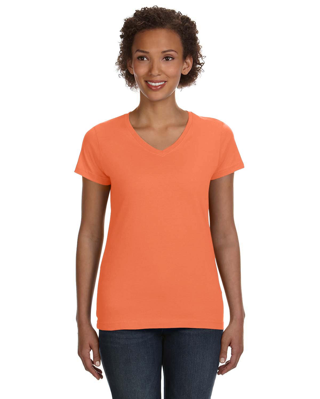 LAT Ladies' V-Neck Fine Jersey T-Shirt PAPAYA