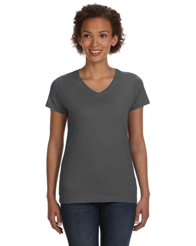 LAT Ladies' V-Neck Fine Jersey T-Shirt CHARCOAL
