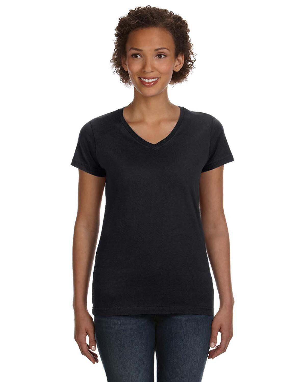 LAT Ladies' V-Neck Fine Jersey T-Shirt BLACK