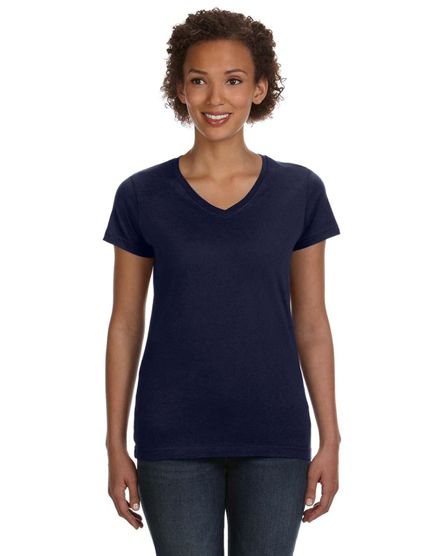 LAT Ladies' V-Neck Fine Jersey T-Shirt NAVY