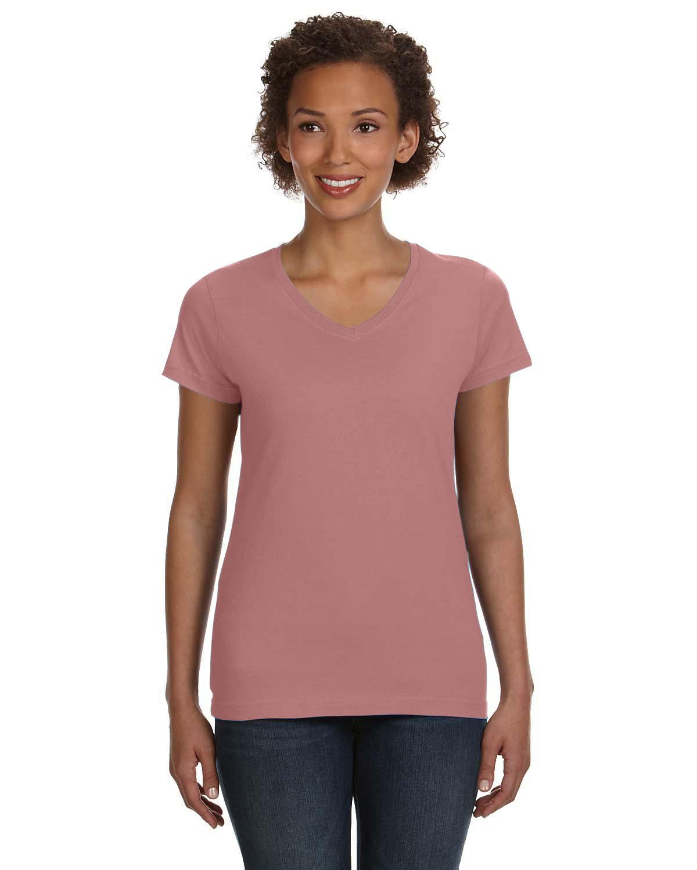 LAT Ladies' V-Neck Fine Jersey T-Shirt MAUVELOUS