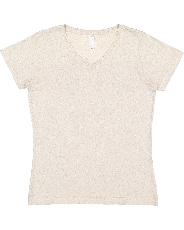 LAT Ladies' V-Neck Fine Jersey T-Shirt NATURAL HEATHER