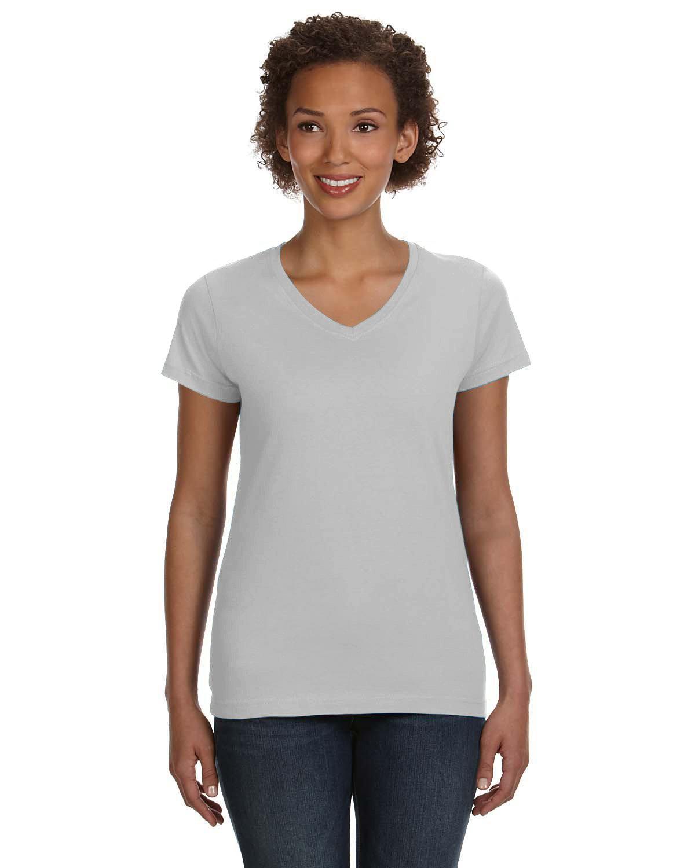 LAT Ladies' V-Neck Fine Jersey T-Shirt TITANIUM