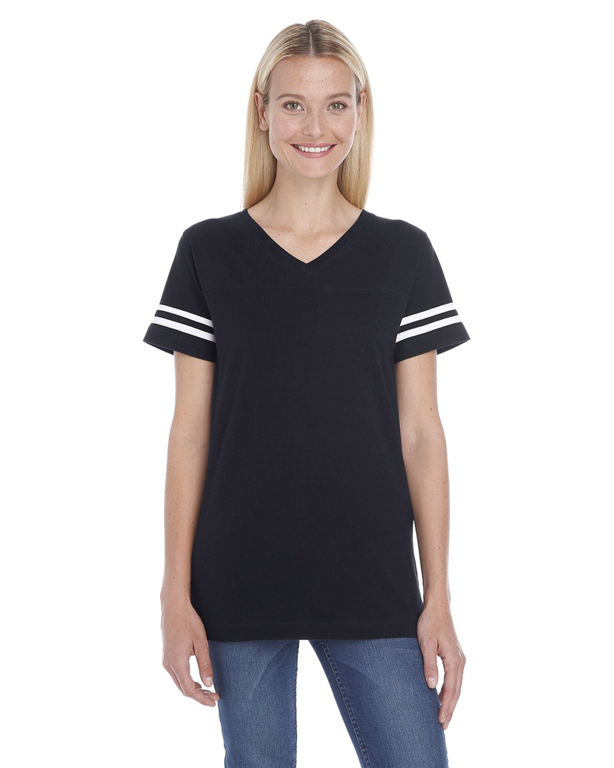 LAT Ladies' Football T-Shirt BLACK/ WHITE