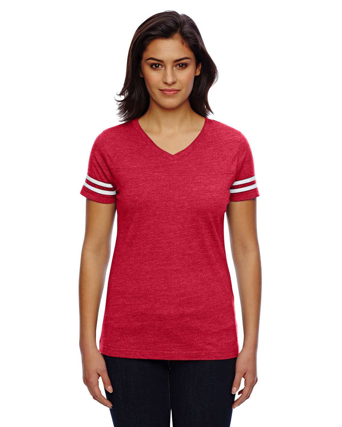 LAT Ladies' Football T-Shirt VN RED/ BLD WHT