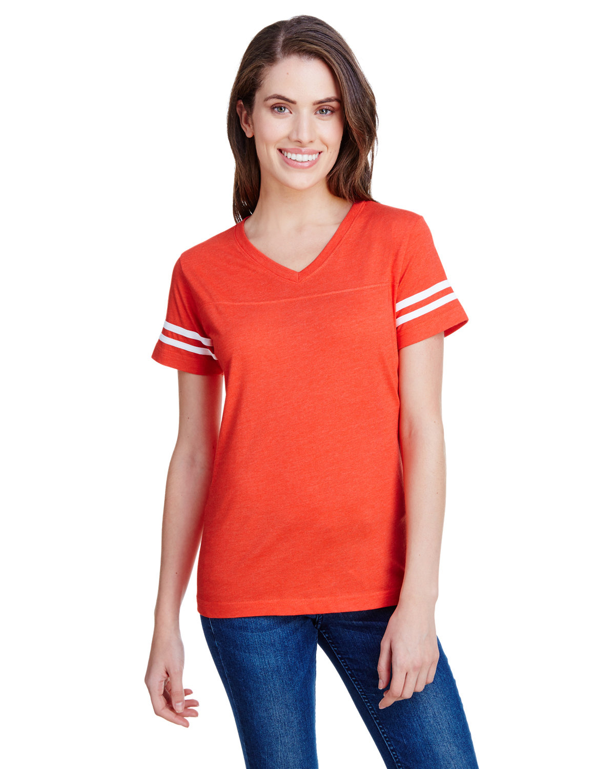 LAT Ladies' Football T-Shirt VN ORANGE/ BD WH