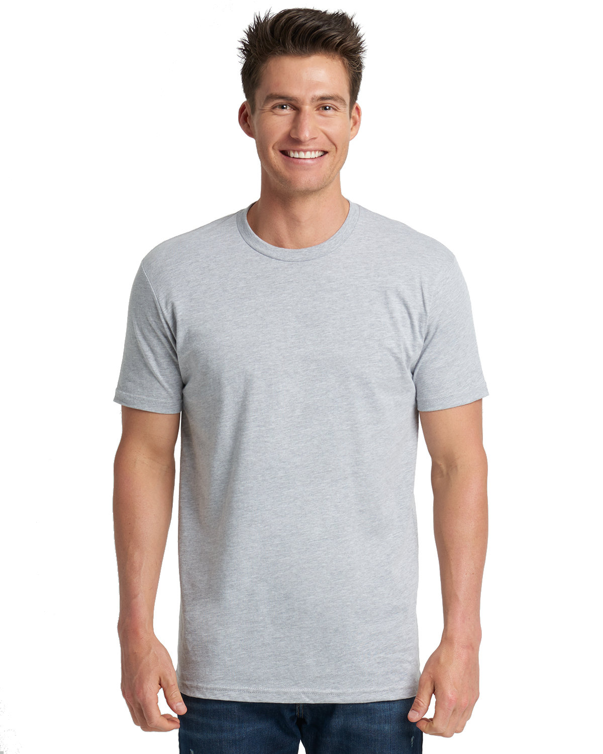Next Level Men's Made in USA Cotton Crew HEATHER GRAY