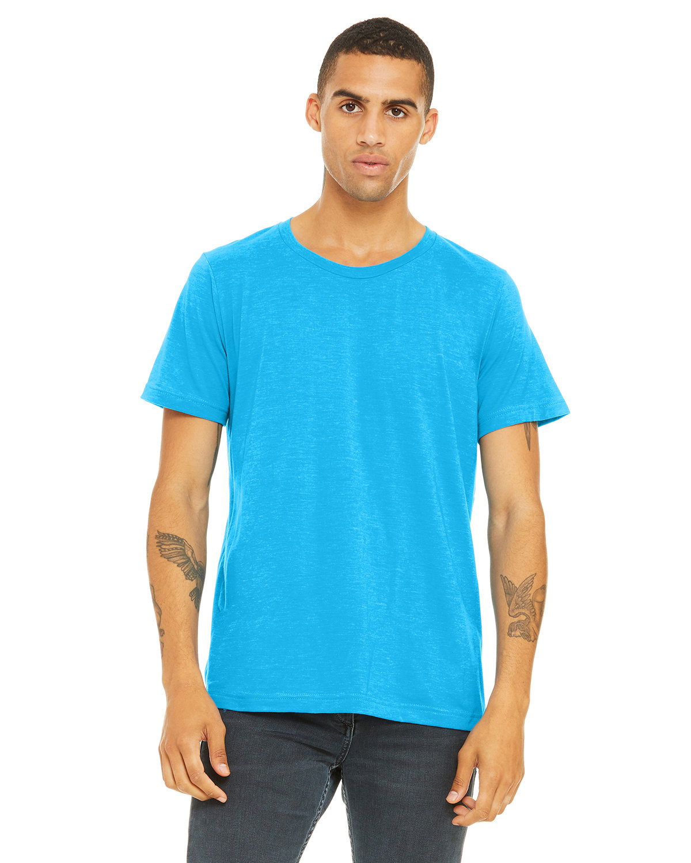 Bella + Canvas Unisex Poly-Cotton Short-Sleeve T-Shirt NEON BLUE