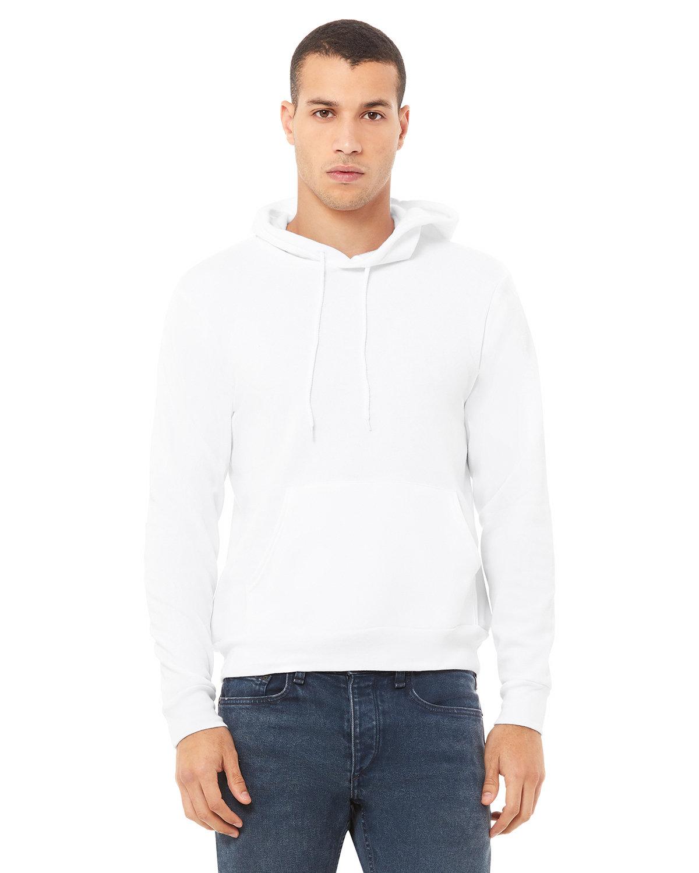 Bella + Canvas Unisex Sponge Fleece Pullover Hooded Sweatshirt WHITE