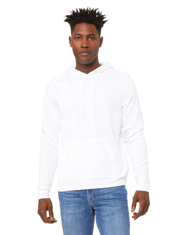 Bella + Canvas Unisex Sponge Fleece Pullover Hooded Sweatshirt DTG WHITE