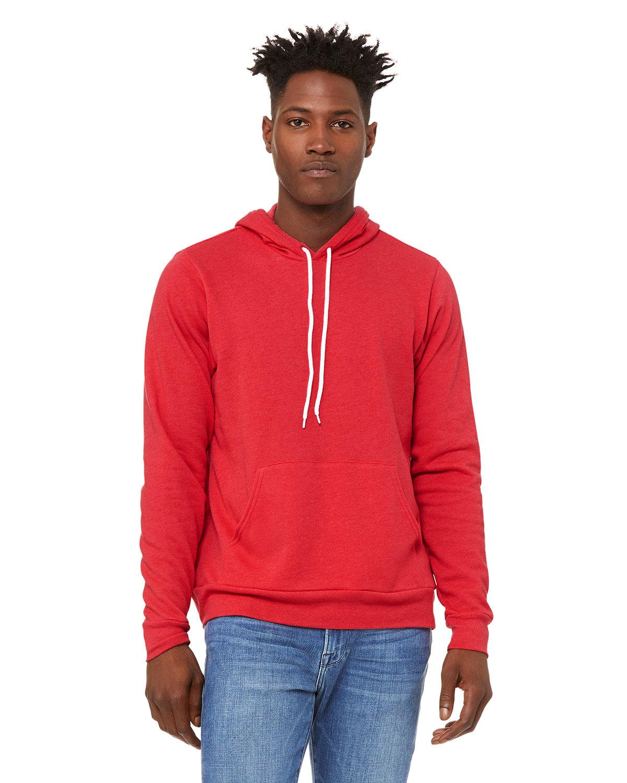Bella + Canvas Unisex Sponge Fleece Pullover Hooded Sweatshirt HEATHER RED