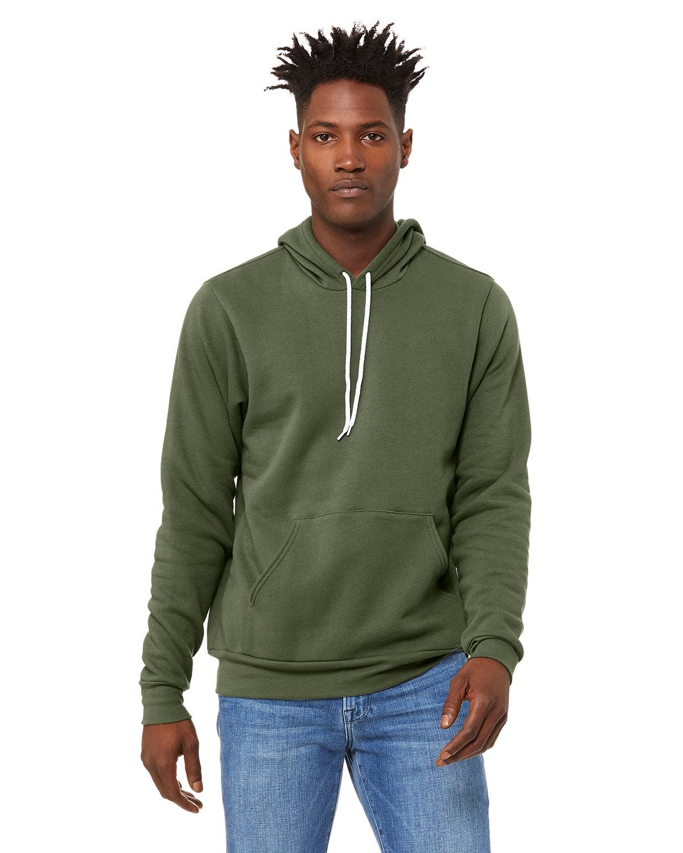 Bella + Canvas Unisex Sponge Fleece Pullover Hooded Sweatshirt MILITARY GREEN