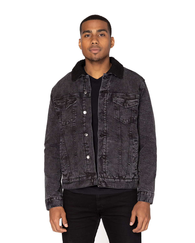Threadfast Apparel Unisex Sherpa-Lined Denim Jacket BLACK DENIM/ BLK