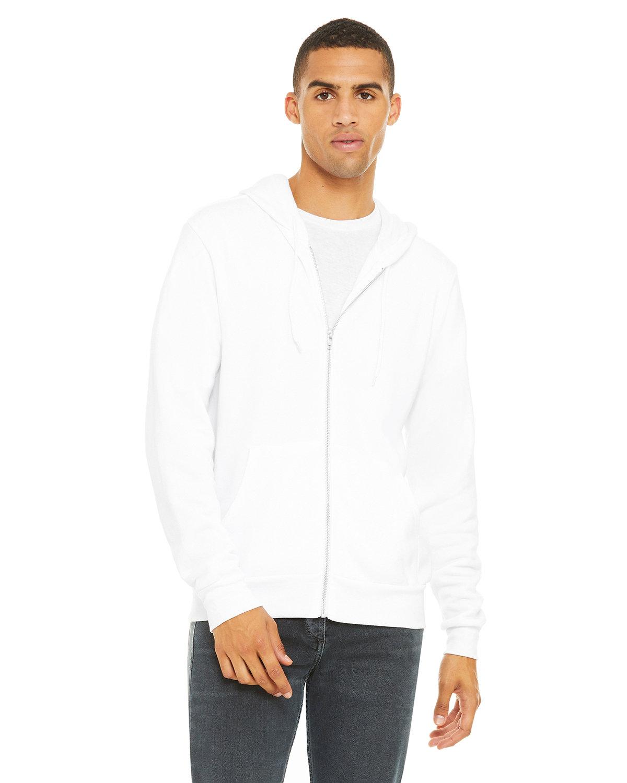 Bella + Canvas Unisex Poly-Cotton Fleece Full-Zip Hooded Sweatshirt WHITE
