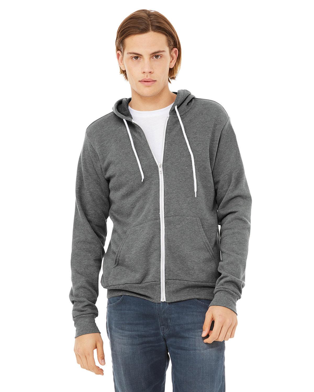 Bella + Canvas Unisex Poly-Cotton Fleece Full-Zip Hooded Sweatshirt DEEP HEATHER