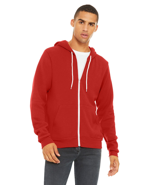 Bella + Canvas Unisex Poly-Cotton Fleece Full-Zip Hooded Sweatshirt RED