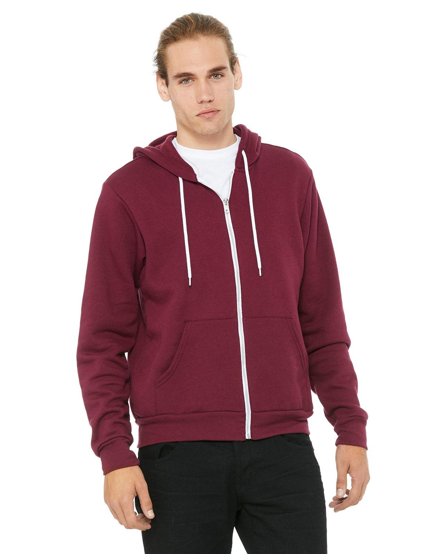 Bella + Canvas Unisex Poly-Cotton Fleece Full-Zip Hooded Sweatshirt MAROON