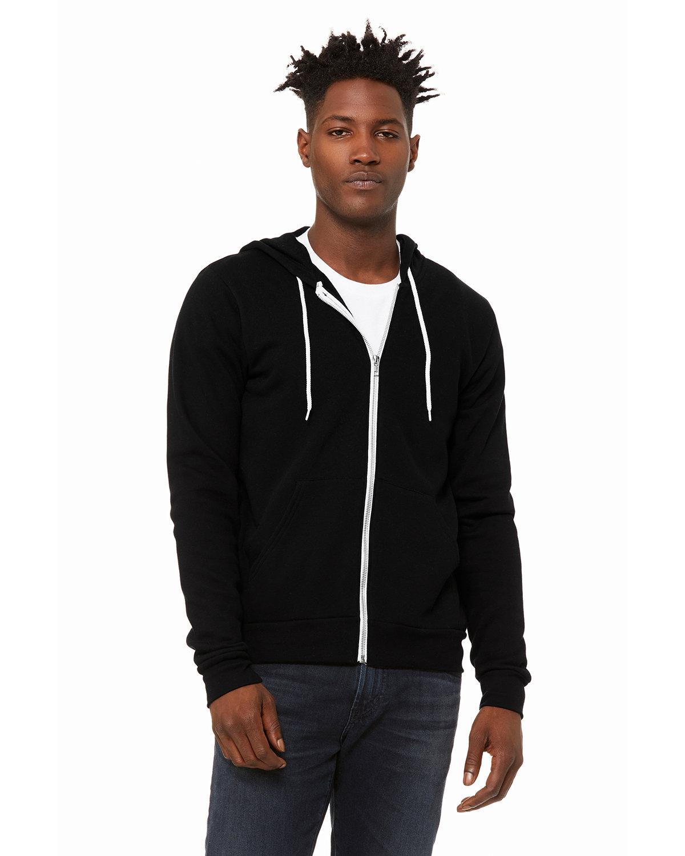 Bella + Canvas Unisex Poly-Cotton Fleece Full-Zip Hooded Sweatshirt DTG BLACK