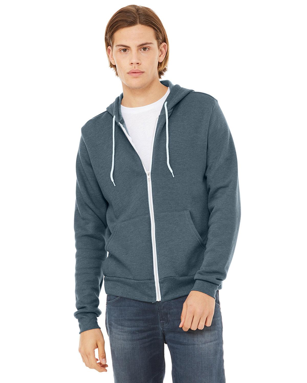 Bella + Canvas Unisex Poly-Cotton Fleece Full-Zip Hooded Sweatshirt HEATHER SLATE