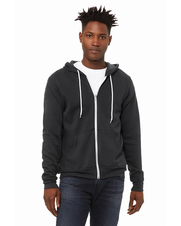 Bella + Canvas Unisex Poly-Cotton Fleece Full-Zip Hooded Sweatshirt DTG DARK GREY