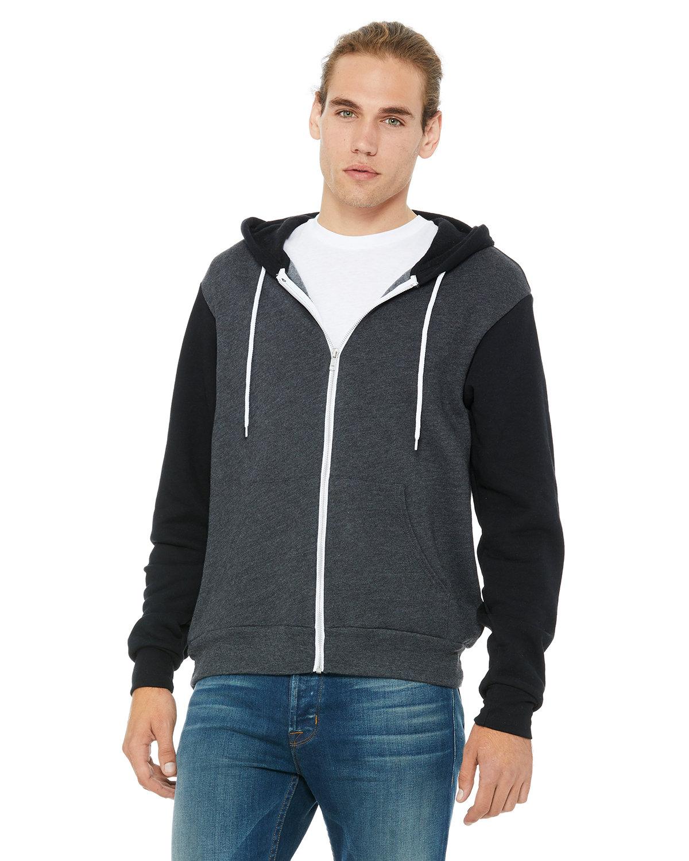 Bella + Canvas Unisex Poly-Cotton Fleece Full-Zip Hooded Sweatshirt DRK GRY HTR/ BLK