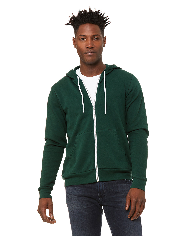 Bella + Canvas Unisex Poly-Cotton Fleece Full-Zip Hooded Sweatshirt FOREST